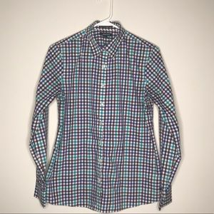 Checked Button Down Long Sleeve Shirt